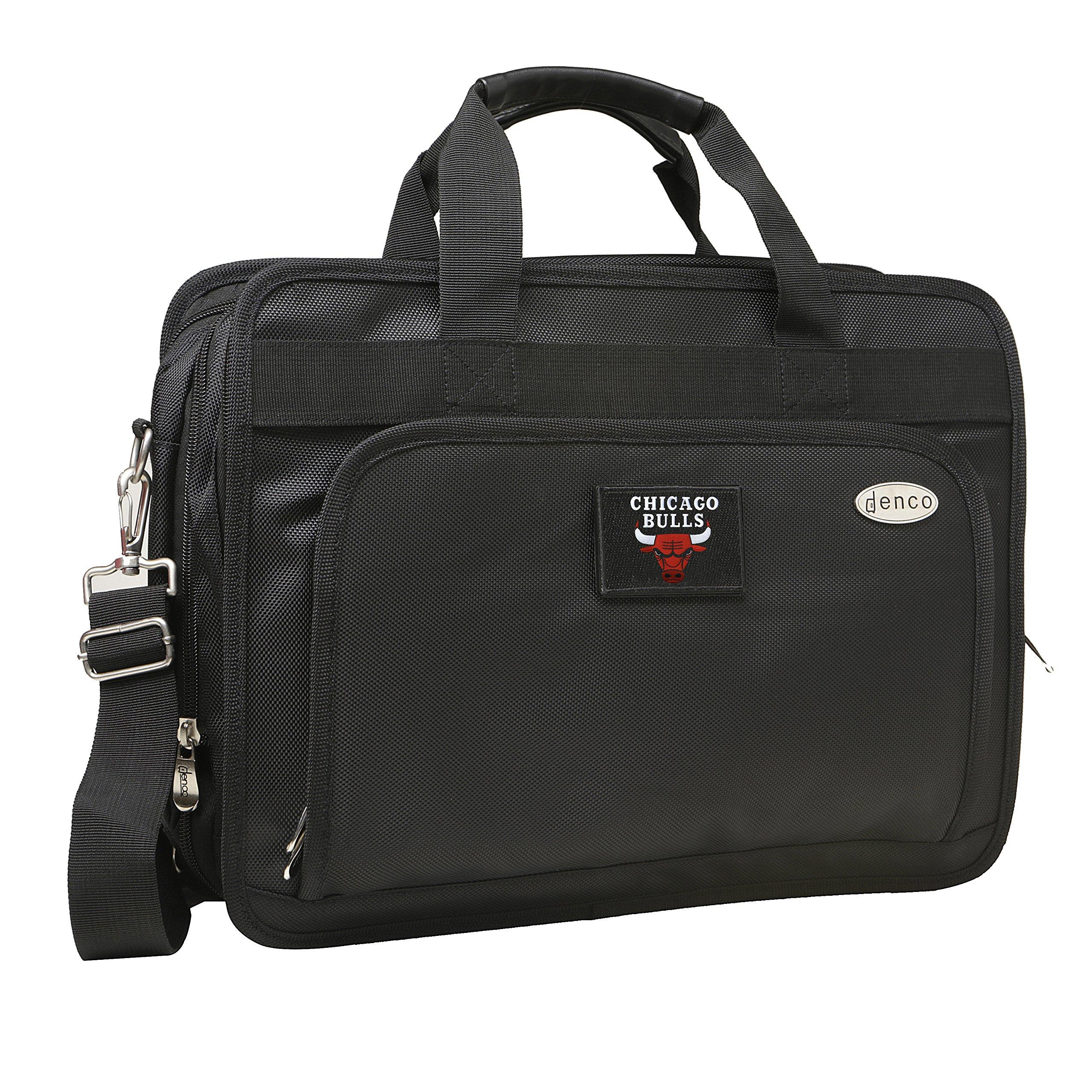 NBA Chicago Bulls Expandable Laptop Briefcase, 13-Inch, Black