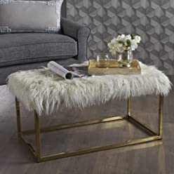 Glam Faux Furry White Long Fur Ottoman with Gold Finish Stainless Steel Frame