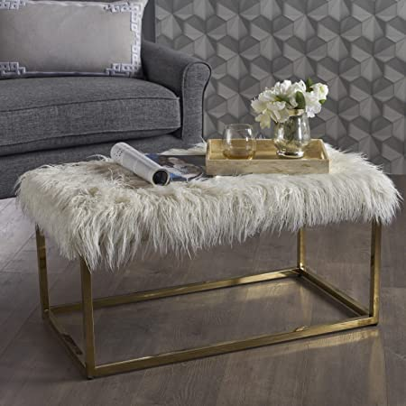 Christopher Knight Home 302435 Glam Faux Furry White Long Fur Ottoman with Gold Finish Stainless Steel Frame,