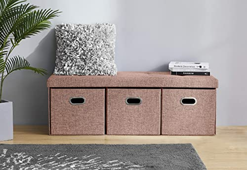 Ornavo Home Foldable Tufted Linen Large Bench Storage Ottoman Foot Rest Stool Seat with 3 Drawer Cubes – 15 x 45 x 15 Taupe