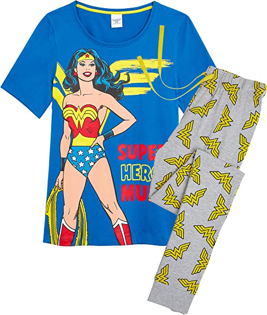 DC Comics Pijama Wonder Woman Mujer Diseño Superhéroe Wonder Woman, Conjunto 2 Piezas Camiseta de Manga Corta Pantalón Largo, Ropa de Dormir Algodón, Regalos para Madres Chicas: Amazon.es: Ropa y accesorios