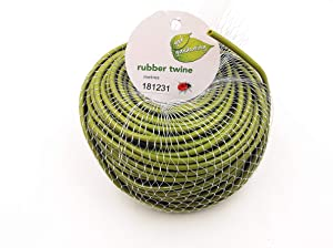 TIPU Soft Rubber Garden Twine, Soft Stretch Plant and Tree Tie, Hollow Stretch Rubber Twine Expands with The Growth Plant/Fruit Tree, w/Cutter, Green, 262 FT