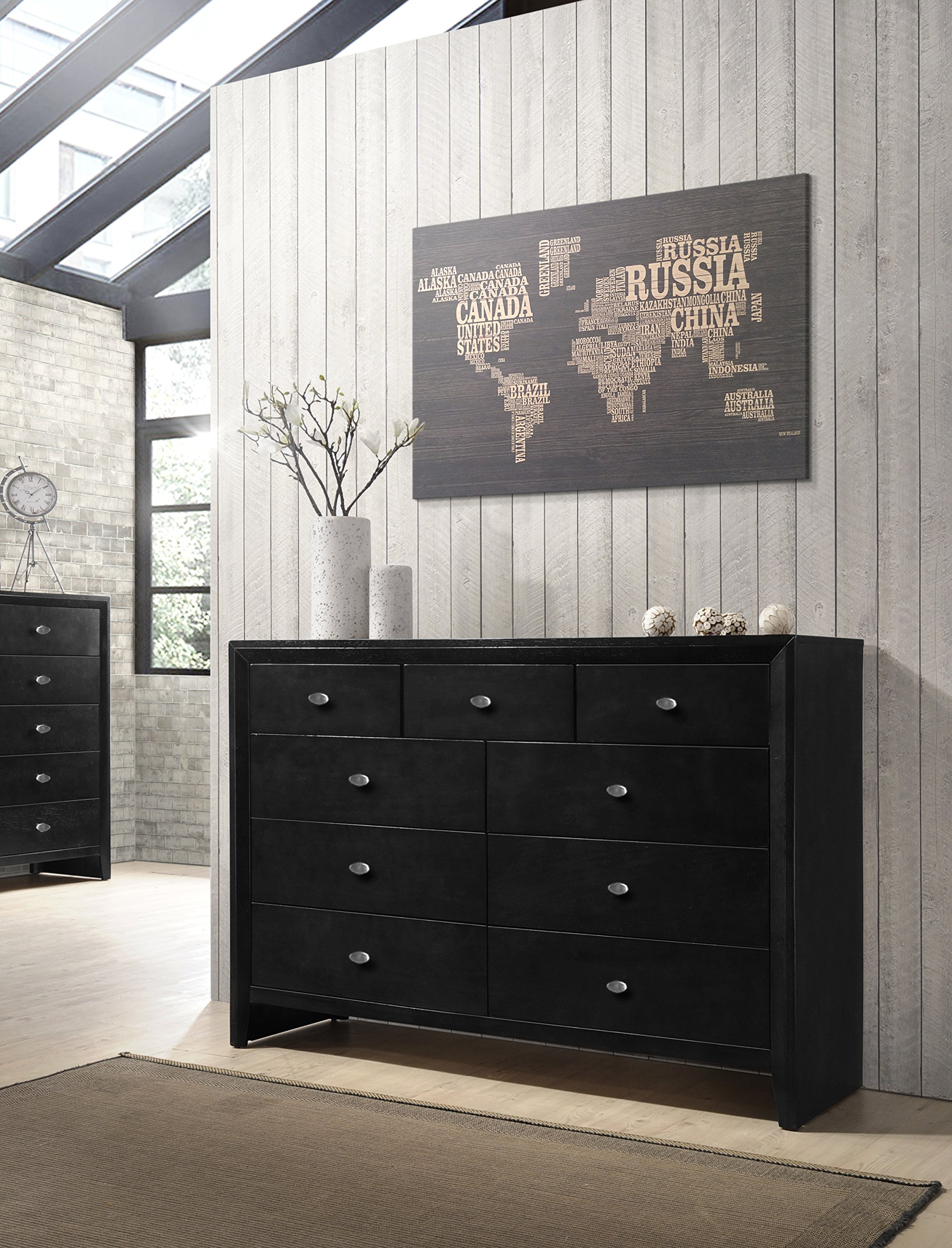 Roundhill Furniture Gloria Black Finish Wood 9 Drawers Dresser