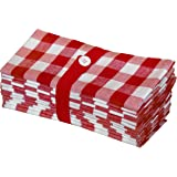(Gingham Checks - Red) - Cotton Craft 12 Pack Gingham Cheques Oversized Dinner Napkins - Red - Size 20x20-100% Cotton - Tailored with Mitered Corners and a Generous Hem - Easy Care Machine wash