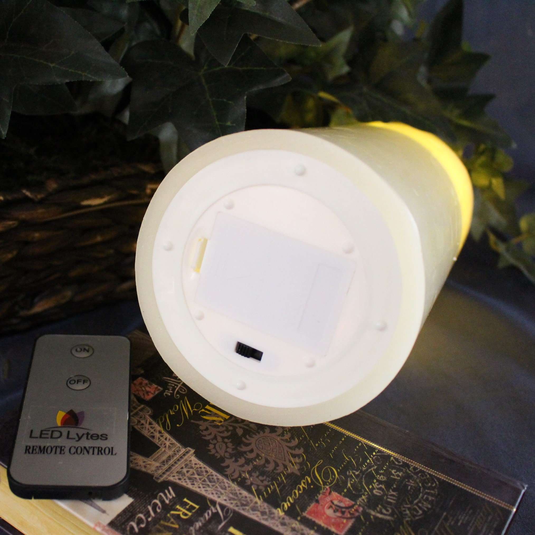 LED Lytes Flameless Candle Flickering - ONE Amber Yellow Pillar Battery Operated with Remote for Parties Weddings and Decorations by LED Lytes (Image #5)