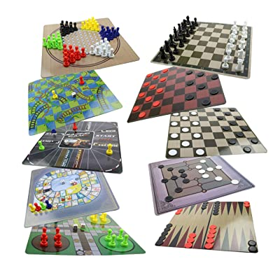 Board Game Set - 10 in 1 Board Games Collection - Chess, Checkers, Chinese Checkers, Backgammon, Snake and Ladder, Ludo and More Classic Board Games for Kids: Toys & Games
