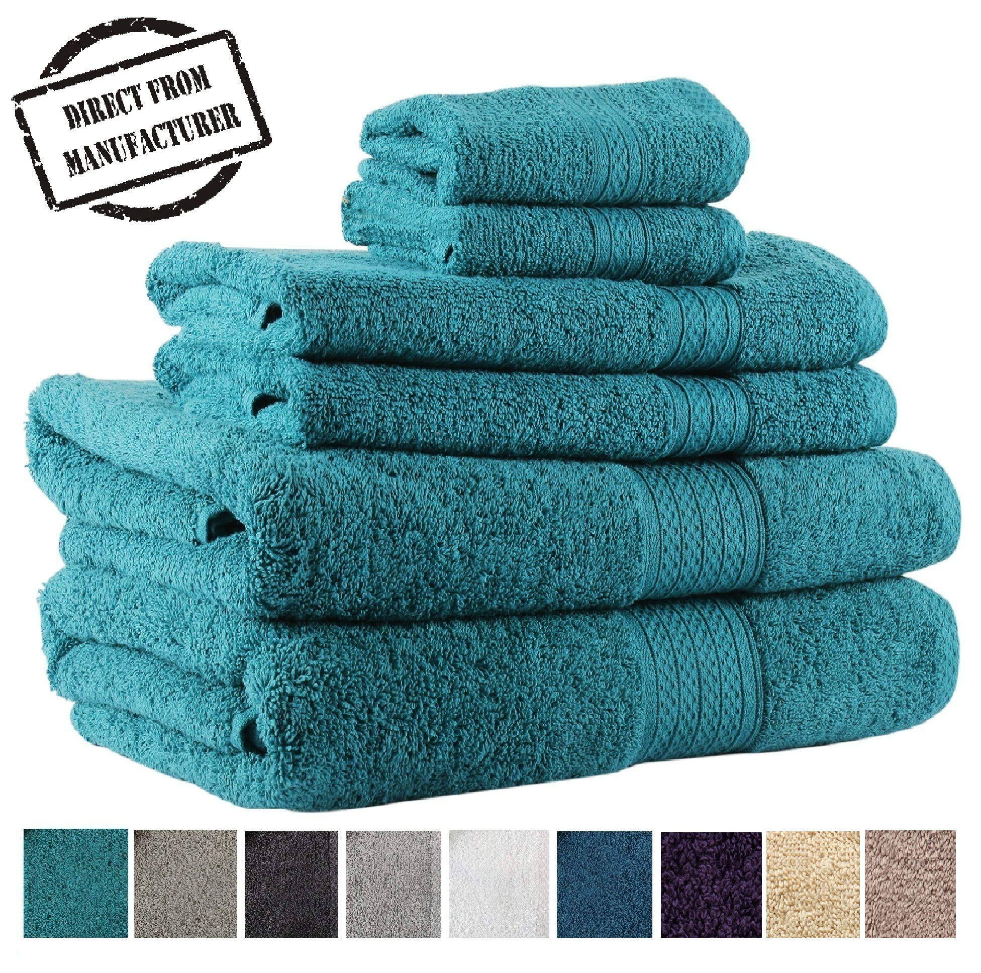 Premium 6 piece Towel Set- 2 Extra Large Bath Towels 2 Hand Towel 2 Washcloth Soft Cotton 600 GSM Highly Absorbent by Avira Home(Emerald)