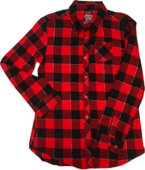 Red and Black Checked Girls Flannel Shirt