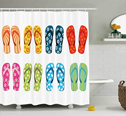 Beach Shower Curtain Funny Coastal Sea Life Decor By Ambesonne Colorful Flip Flops With