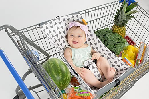 Amazon.com : Binxy Baby Shopping Cart Hammock (Gray and Aqua Quatrefoil) : Baby