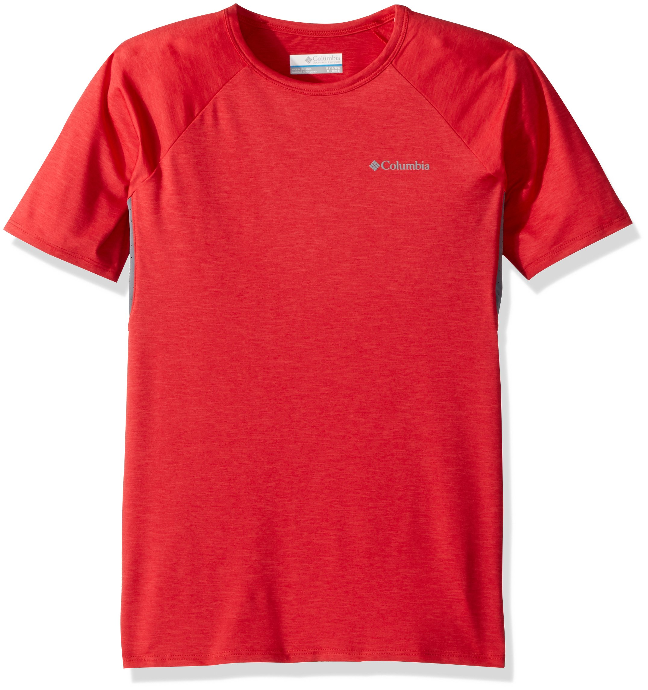 Columbia Boys Silver RidgeIi Short Sleeve Tee, Bright Red Heather, Large by Columbia