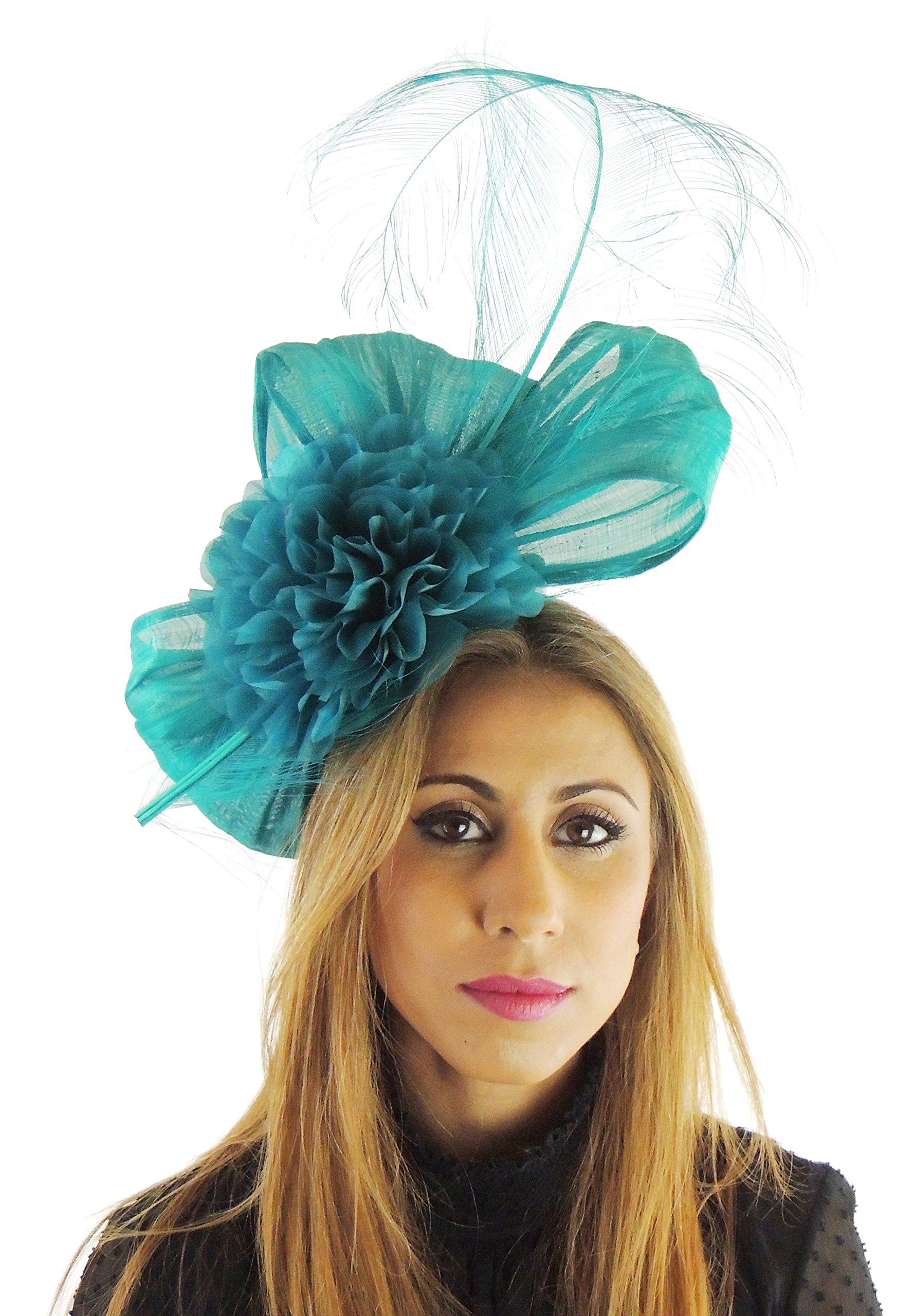 Hats By Cressida Silk Sinamay & Silk Flower Elegant Ladies Ascot Wedding Fascinator Jade