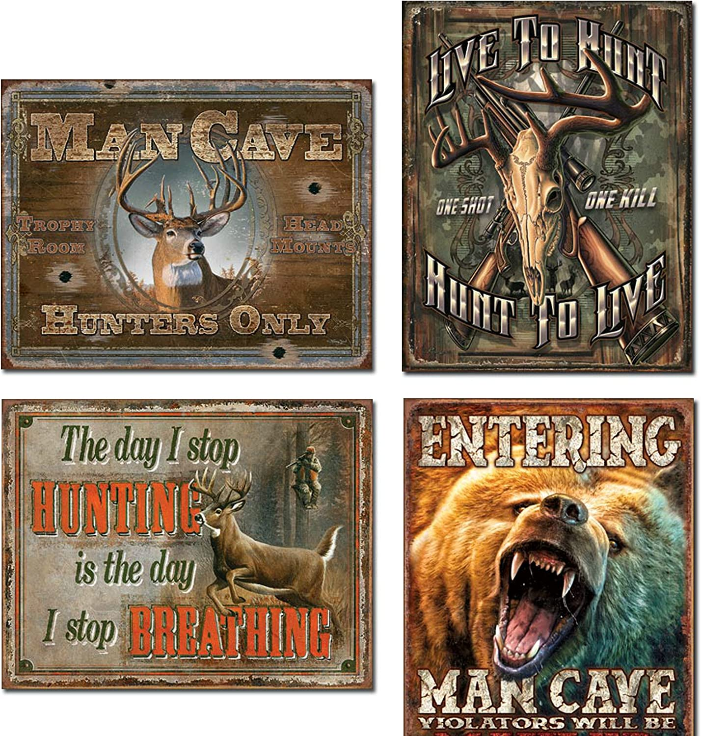 Tin Sign Bear Entering Man Cave Grizzley Violators Will Be Mauled Home Decor