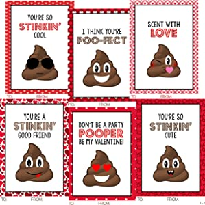 Poop Funny Themed Valentine Day Classroom Sharing Card Set (24 Included)