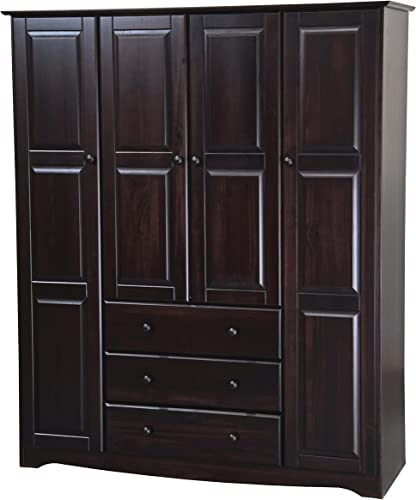 100 Solid Wood Family Wardrobe Armoire Closet 5966