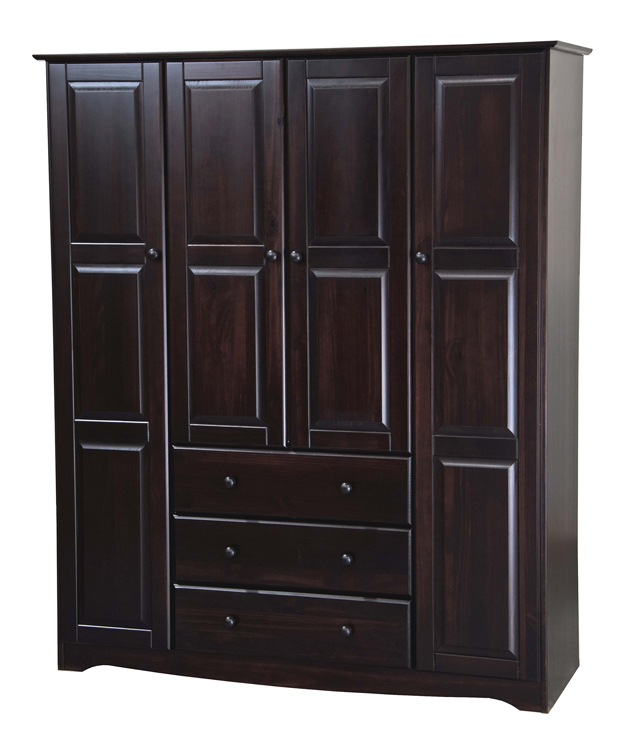 New! 100% Solid Wood Family Wardrobe/Armoire/Closet 5966 by Palace Imports, Java, 60'' W x 72'' H x 21'' D. 3 Clothing Rods Included. Optional Small and Large Shelves Sold Separately.