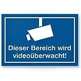 ser Bereich wird videoüberwacht PVC Schild (blau), Hinweisschild Innen/Außen, Warnhinweis Videoüberwachung Einbruchschutz, Hinweis zur Prävention von Einbrüchen - Abschreckung