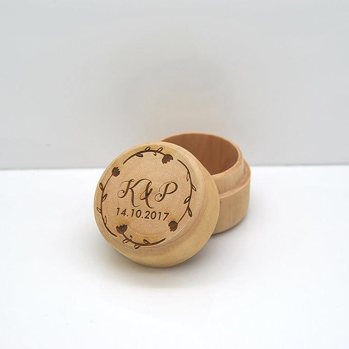 Personalizado grabado de madera anillo caja - hermosa boda/regalo de compromiso: Amazon.es: Hogar