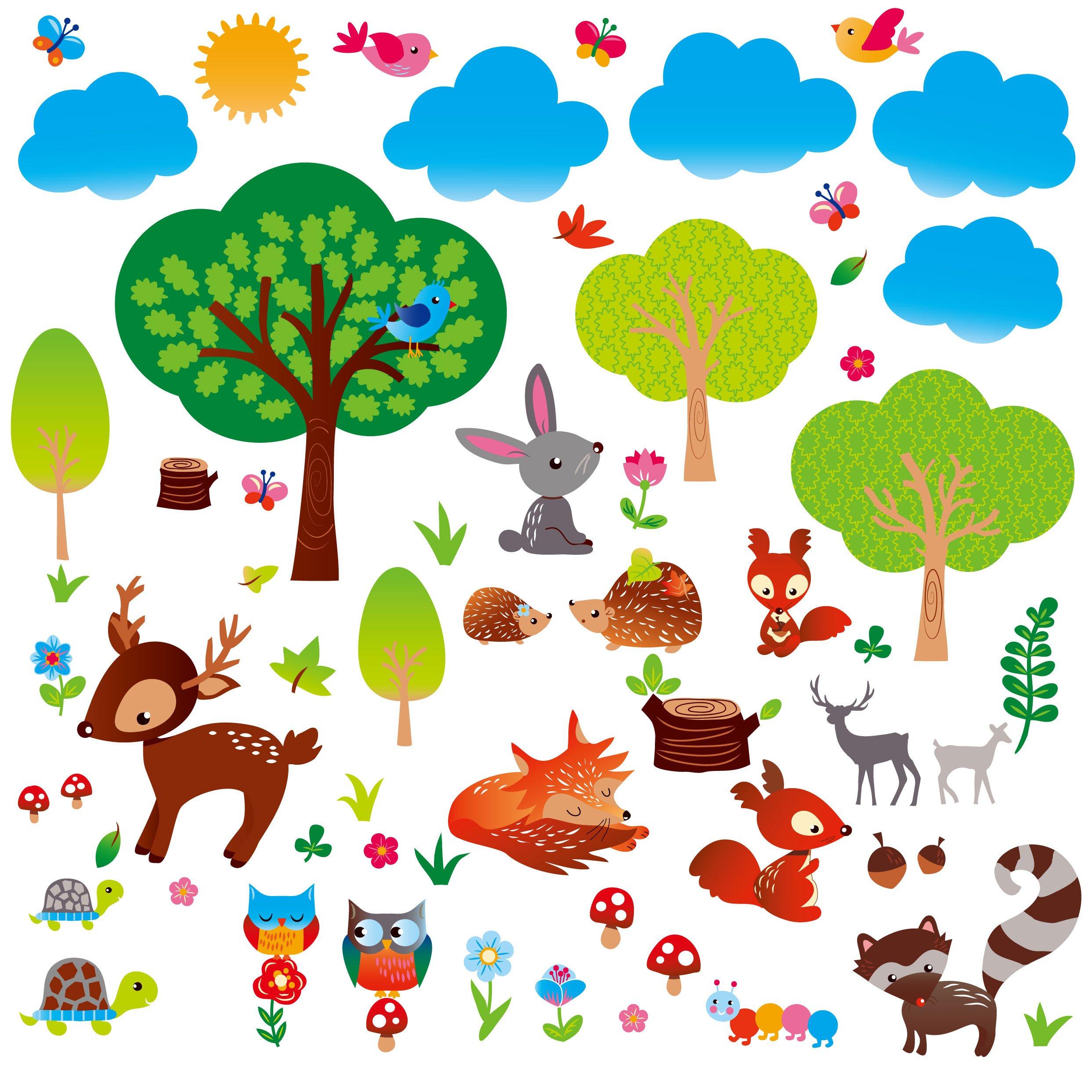 Woodland Friends Nursery/Boys Room Decorative Peel & Stick Wall Art Sticker Decals