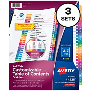 Avery Ready Index A-Z Tab Binder Dividers, Customizable Table of Contents, Multicolor Tabs, 3 Sets (44225)