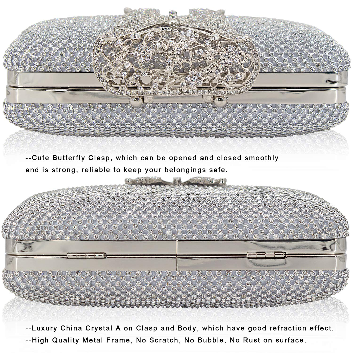 Dexmay Rhinestone Crystal Clutch Purse Butterfly Clasp Women Evening Bag for Formal Party Silver by DEXMAY DM (Image #3)