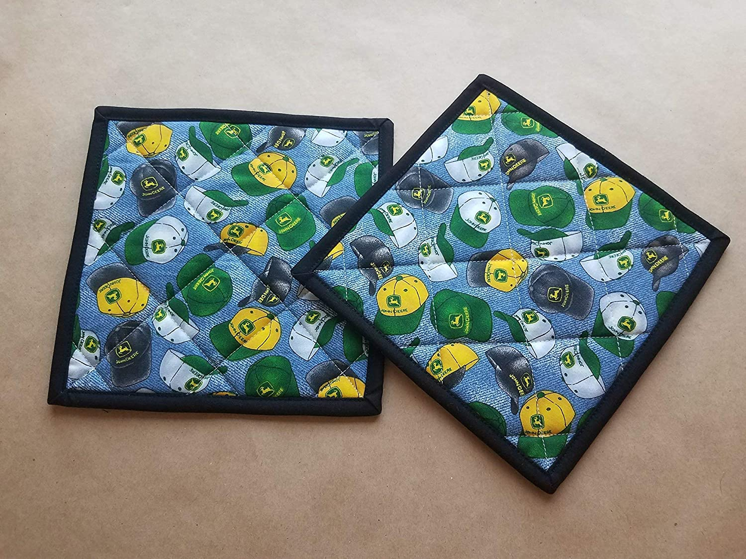John Deere Trucker Hat Potholders, John Deere Home Decor, John Deer Hats, John Deere Hot Pads, Trivets, Pot Holders, John Deere Themed Gifts, Country Gifts, Farmhouse Kitchen Linens, Farmer Kitchen