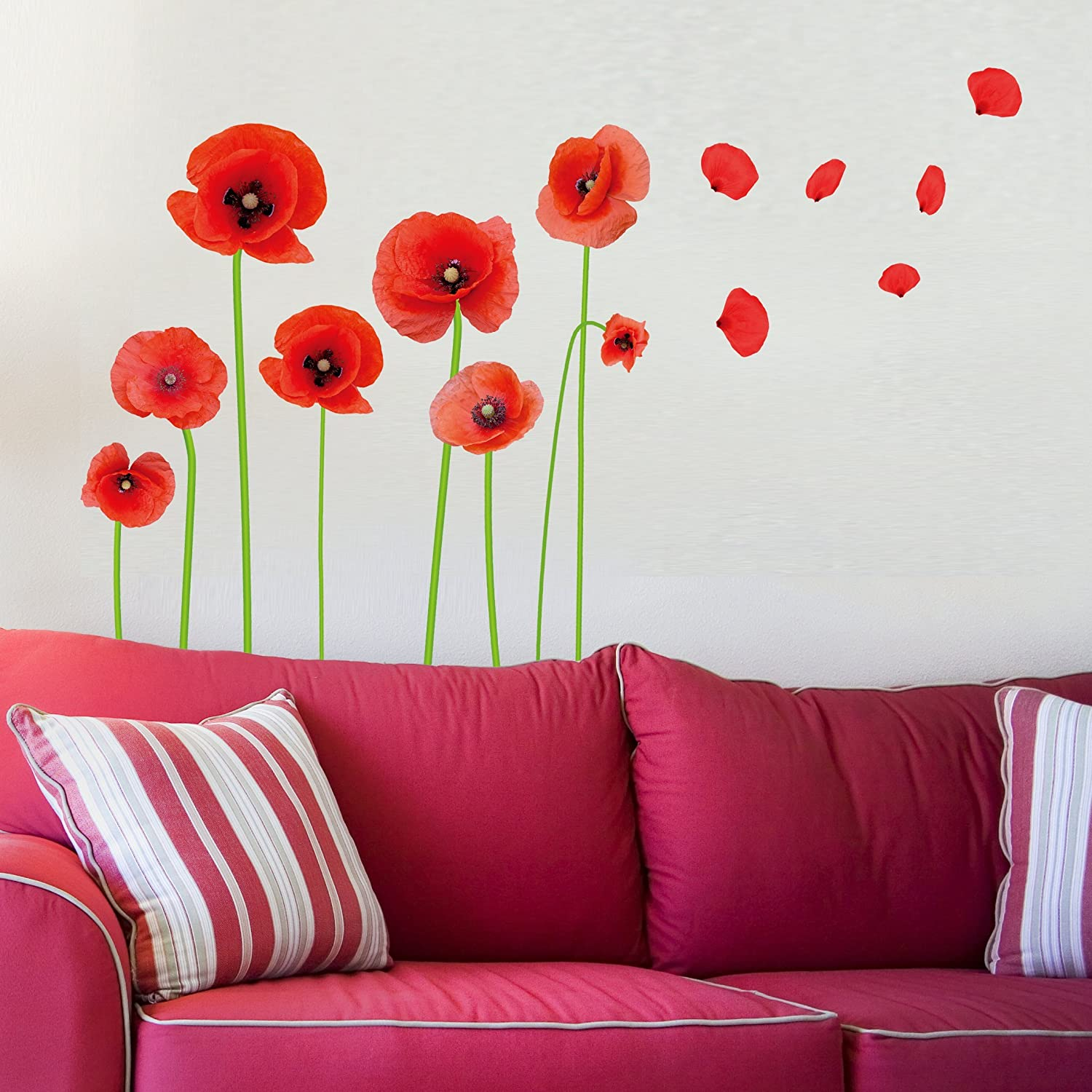 """Dnven (16""""w x 28""""h) DIY High Definition Red Poppies Beautiful Flowers Vines and Butterflies Vinyl Peel and Stick Wall Decals, Living Room Bedroom Children Room Nursery Removable"""