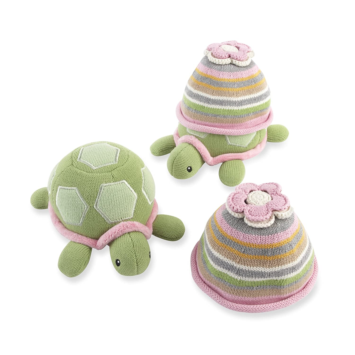 Baby Aspen Turtle Toppers Baby Hat and Turtle Plush Gift Set, Yellow BA11029YL