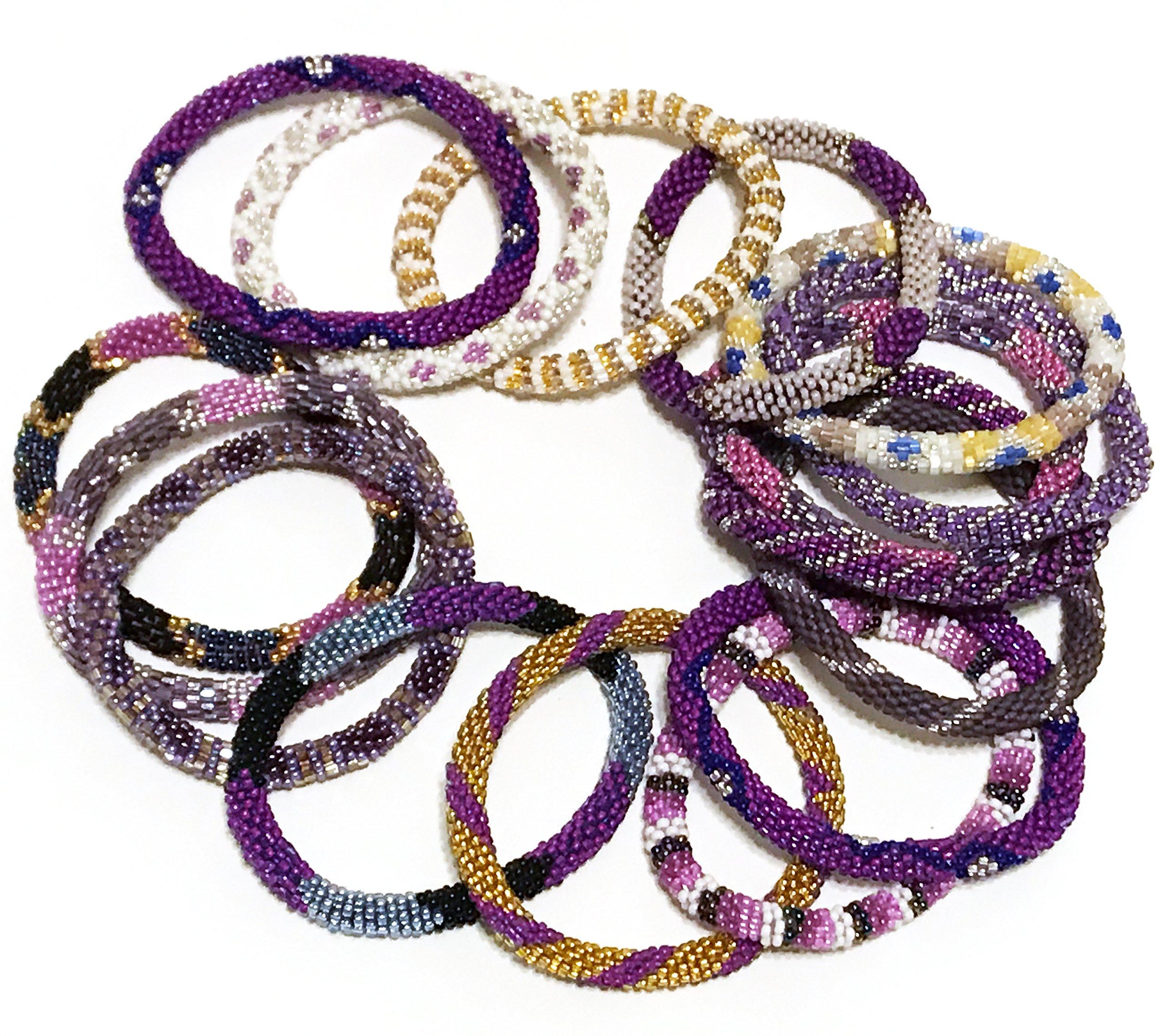 WigsPedia Handmade Crochet Glass Seed Bead Nepal Roll on Boho Bracelet - Wholesale Purple Scheme (6 Pieces Nepal Bracelets)