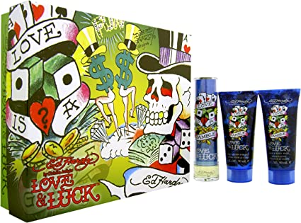 Ed Hardy Love & Luck – Estuche para hombres por Christian Audigier edt Spray 50 ml + Hair & Body Wash 90 ml + Loción corporal 90 ml Giftset: Amazon.es: Belleza