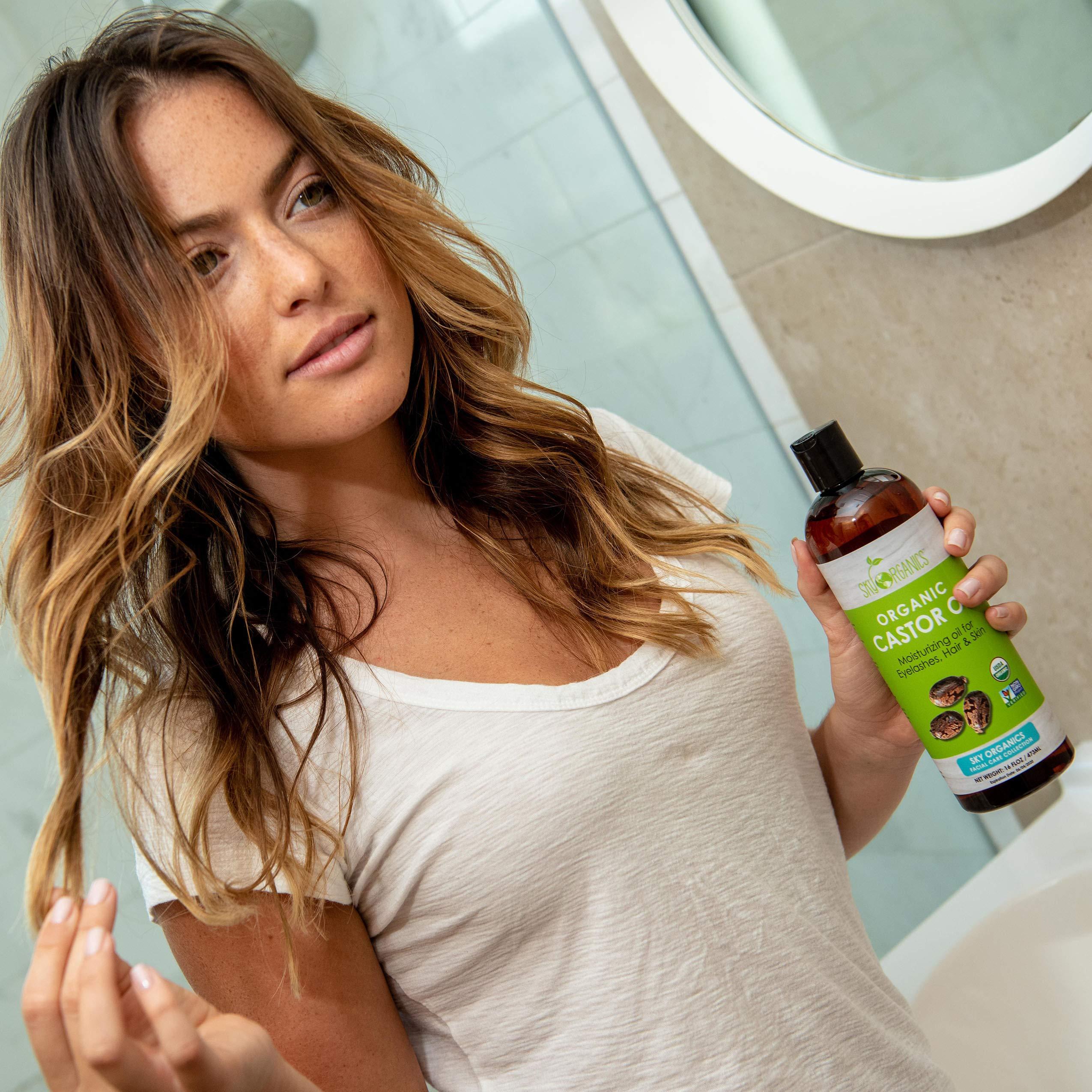 Castor Oil (16oz) USDA Organic Cold-Pressed, 100% Pure, Hexane-Free Castor Oil - Moisturizing & Healing, For Dry Skin, Hair Growth - For Skin, Hair Care, Eyelashes - Caster Oil By Sky Organics by Sky Organics (Image #3)