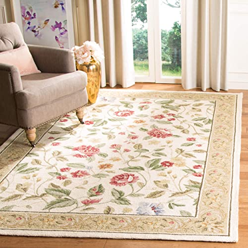 Safavieh Chelsea Collection HK117A Hand-Hooked Ivory and Beige Premium Wool Area Rug 8'9″ x 11'9″