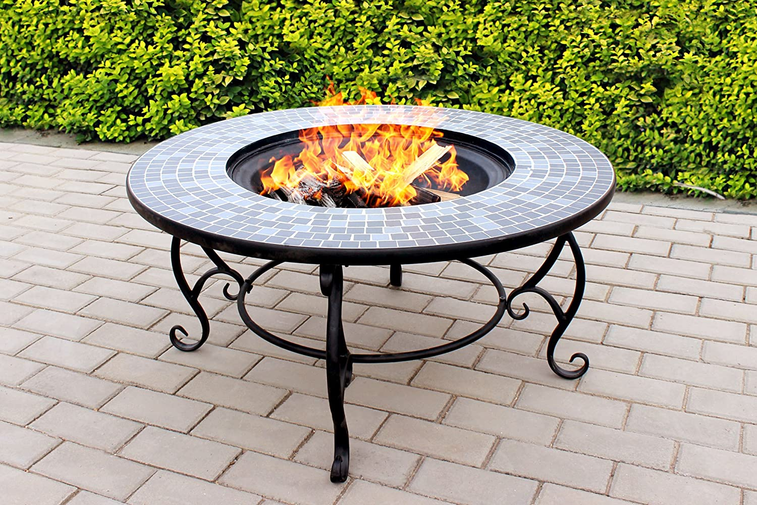Centurion Supports Fireology GINESSA Sumptuous Garden U0026 Patio Heater Fire  Pit Brazier, Coffee Table, Barbecue And Ice Bucket With Mosaic Ceramic  Tiles: ...