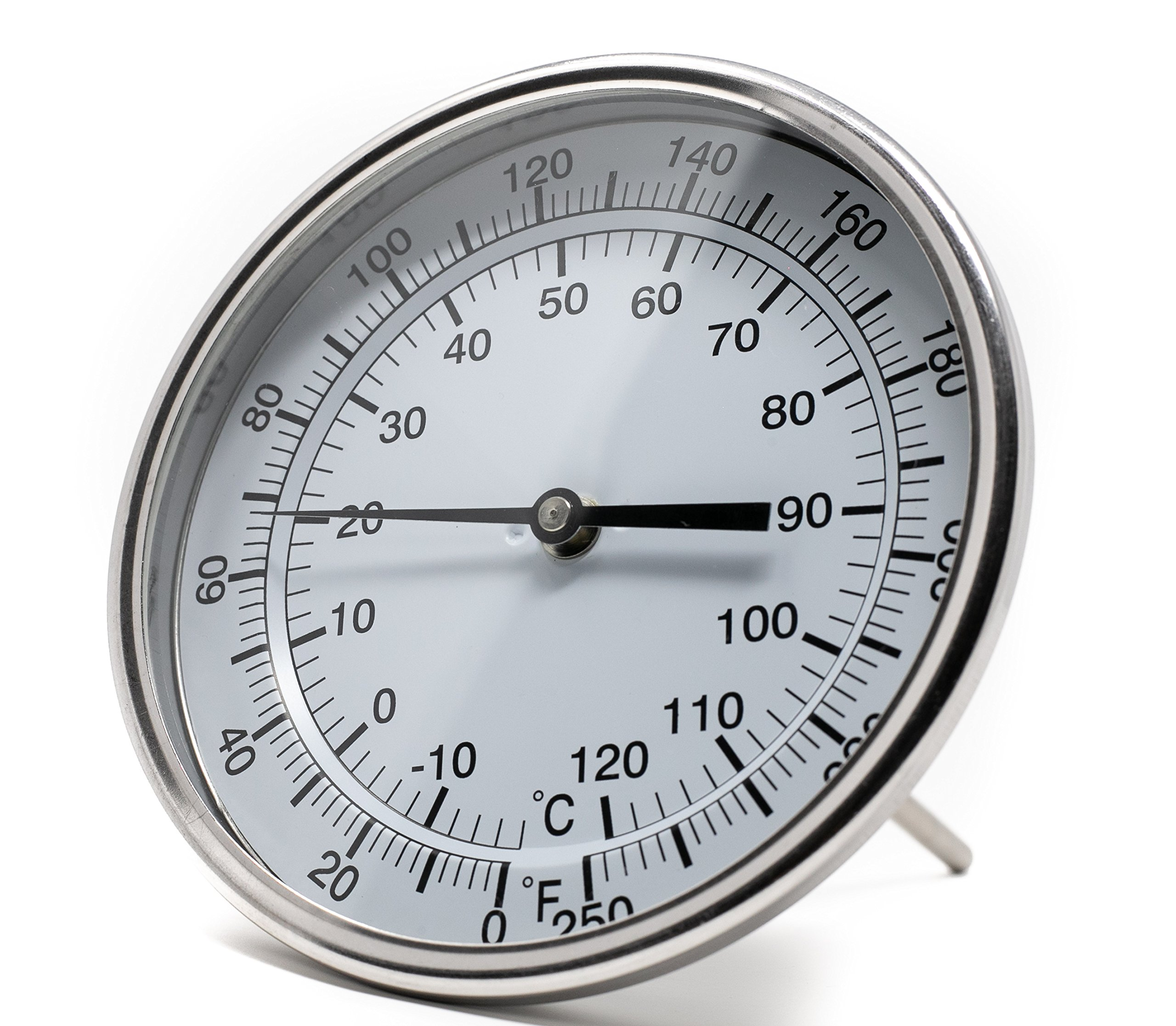 PIC Gauge B5B6-II 5'' Dial Size, 0/250°F and -18/121°C, 6'' Stem Length, Back Angle Connection, Stainless Steel Case, 316 Stainless Steel Stem Bimetal Thermometer by PIC Gauges