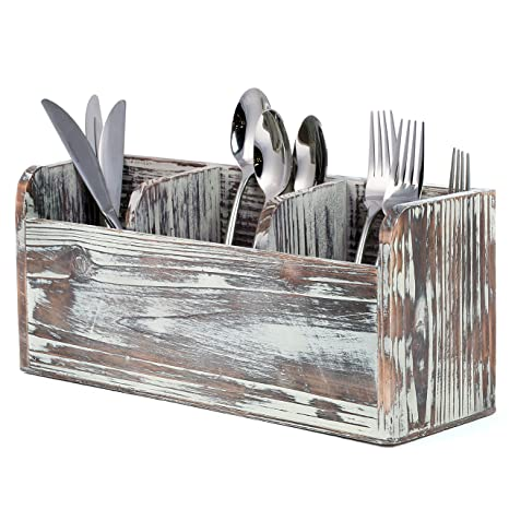 3 Compartment Rustic Torched Wood Utensil Holder Flatware Caddy And Organizer Tray