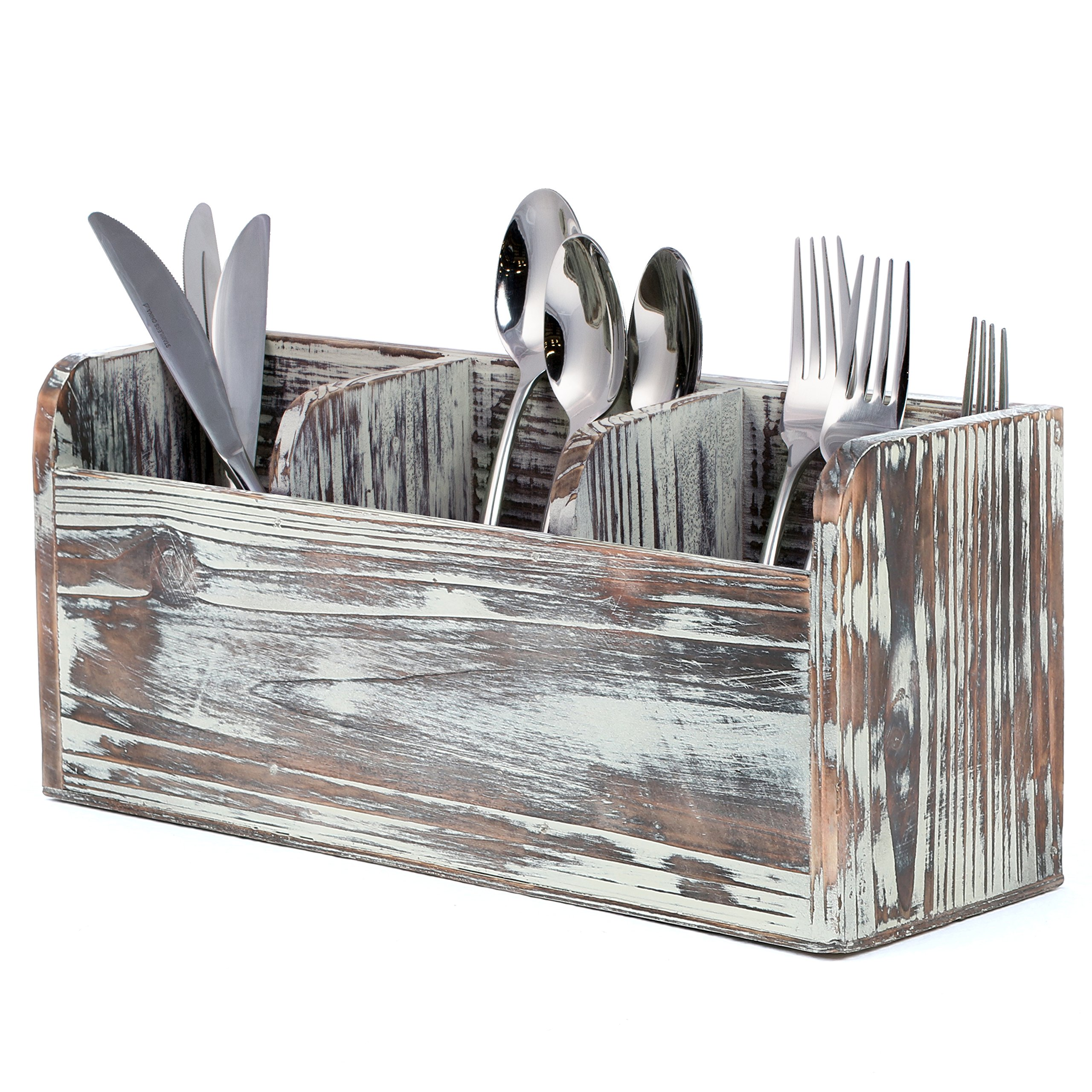 3 Compartment Rustic Torched Wood Utensil Holder, Flatware Caddy and Organizer Tray