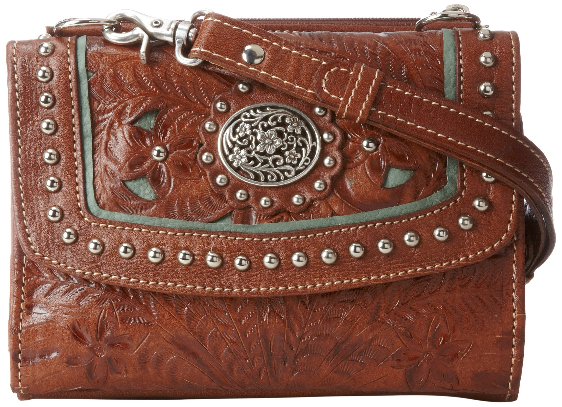 American West Texas 2 Step Grab-and-Go Combination Bag Shoulder Bag Mocha/Turquoise One Size by American West