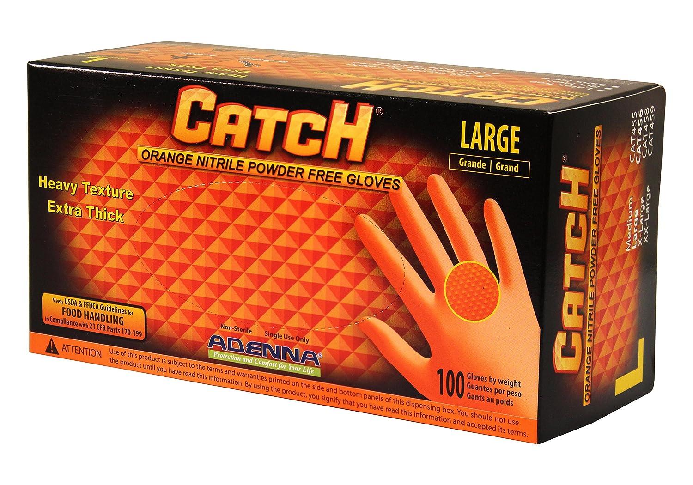 Adenna CAT456 Catch 8 mil Nitrile Powder Free Gloves (Orange, Large) Box of 100
