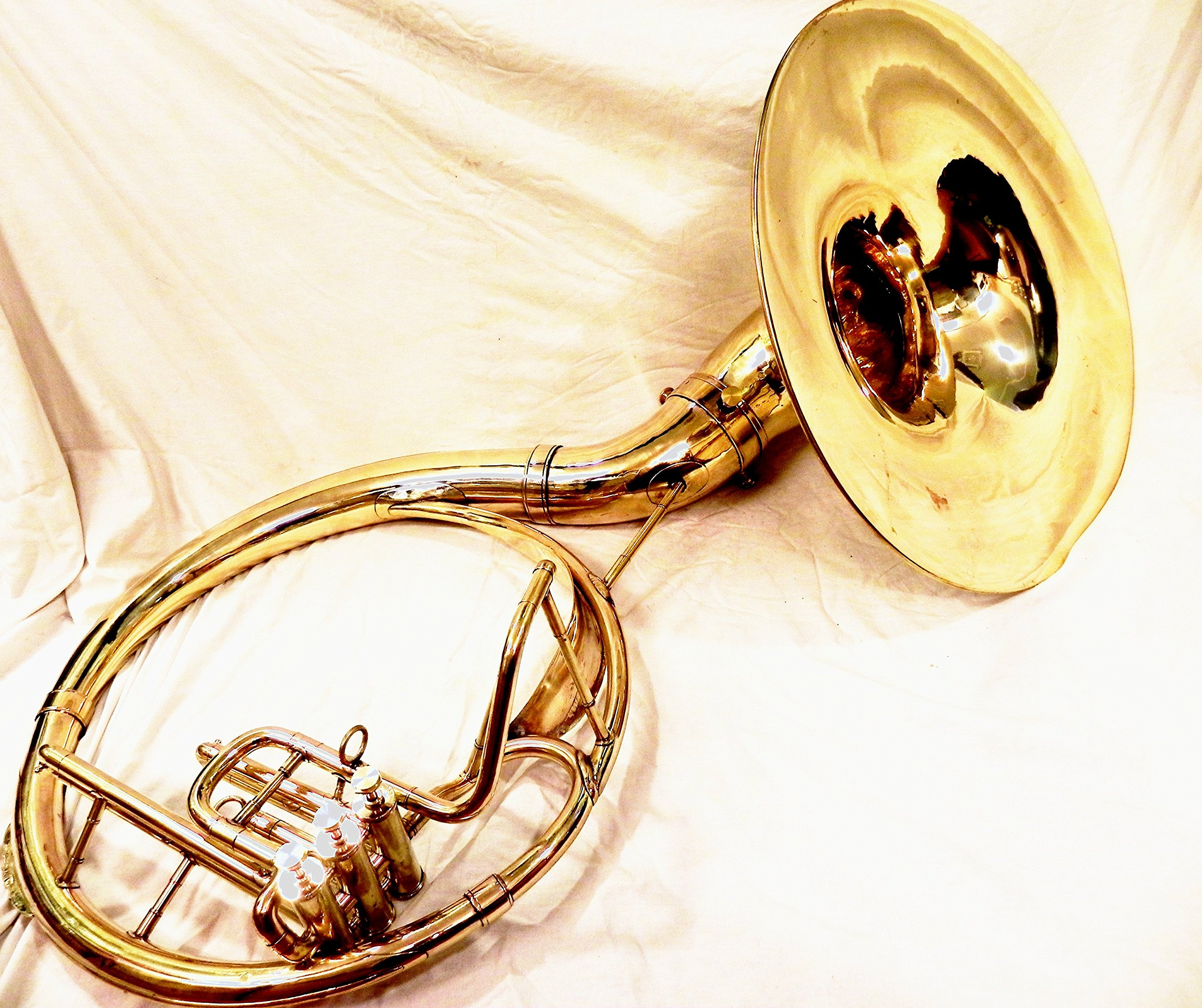 INDIAN HANDMADE BRASS FINISH 22''SOUSAPHONE BRASS MADE TUBA MOUTH PIECE WITH BAG by I/M