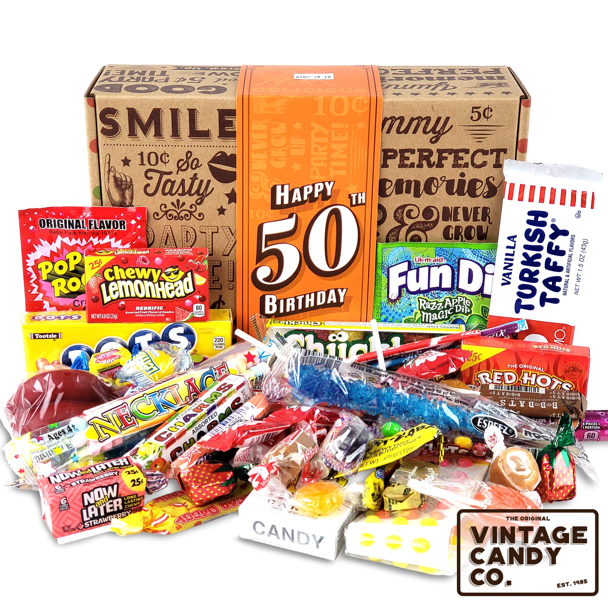 VINTAGE CANDY CO. 50TH BIRTHDAY RETRO CANDY GIFT BOX - 1969 Decade Nostalgic Childhood Candies - Fun Gag Gift Basket For Milestone FIFTIETH Birthday - PERFECT For Man Or Woman Turning 50 Years Old
