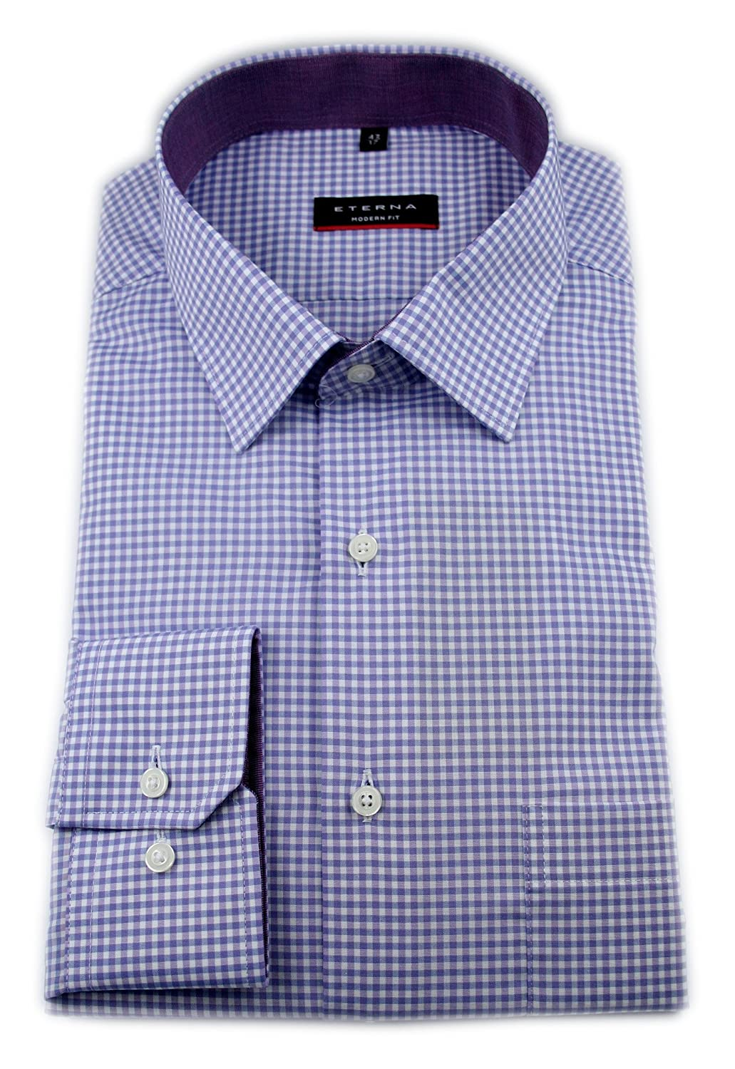 Eterna Long Sleeve Shirt Modern Fit Poplin Checked