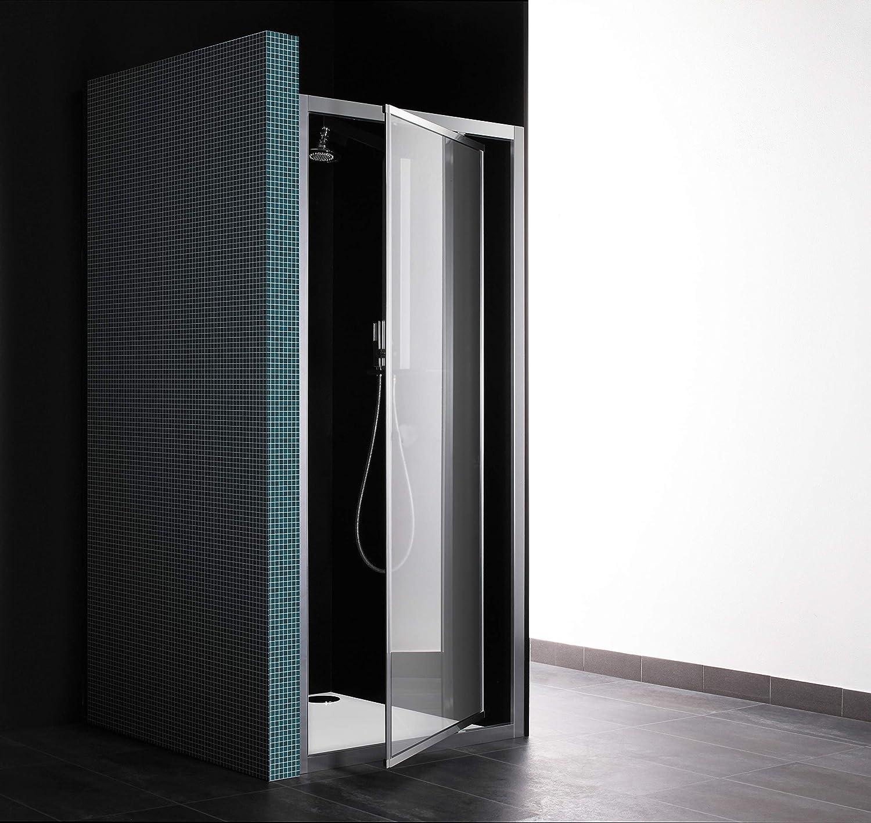 NICCHIA - Mampara de ducha con puerta abatible, 1 puerta, 81 cm, cristal transparente, perfil de aluminio blanco (extensible 75-81), fabricado en Italia: Amazon.es: Bricolaje y herramientas