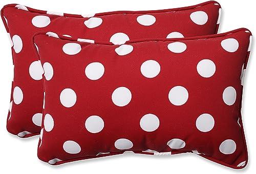Pillow Perfect Decorative Polka Dot Toss Pillow, Rectangle, Red White