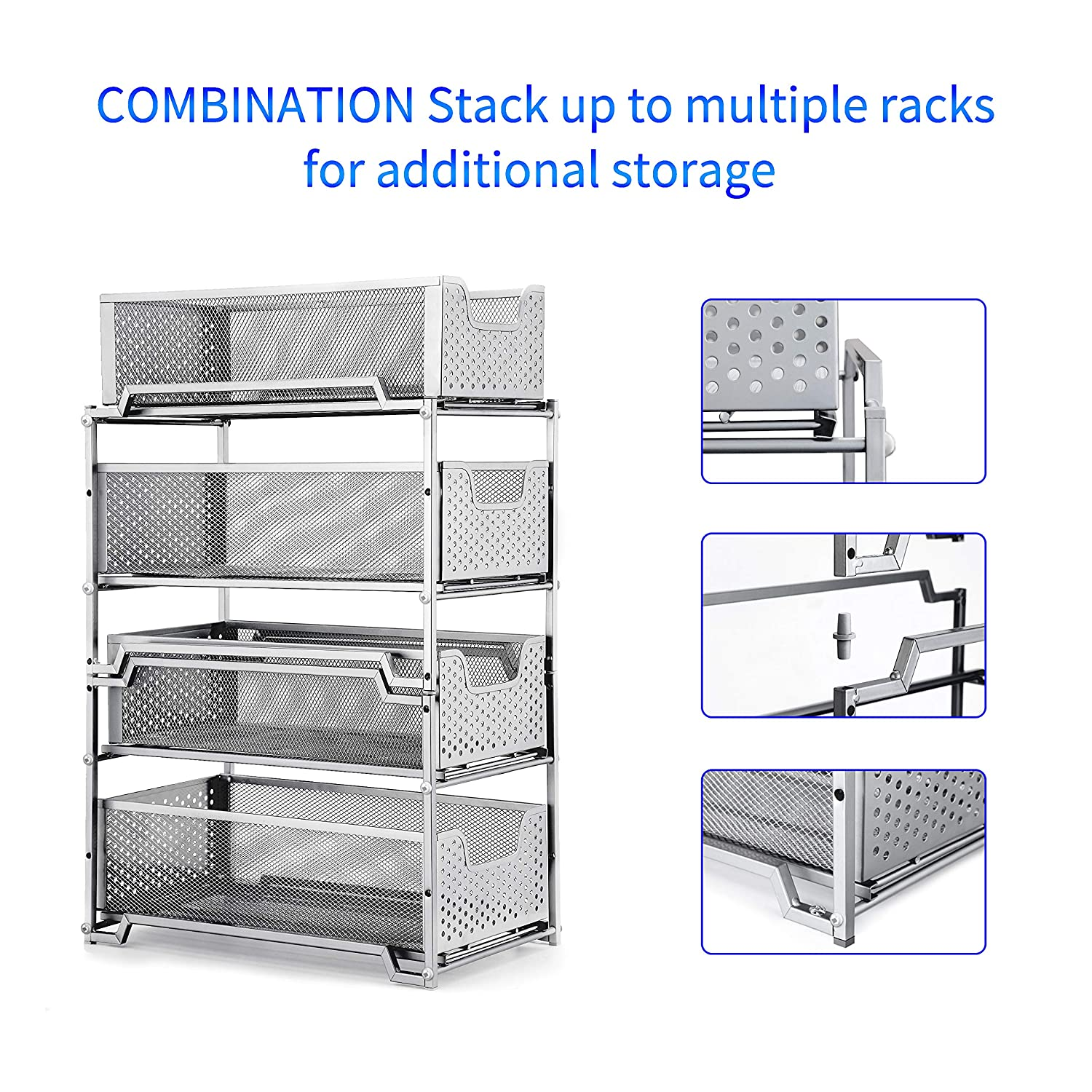 Simple Trending Stackable 2-Tier Under Sink Cabinet Organizer with Sliding Storage Drawer Silver