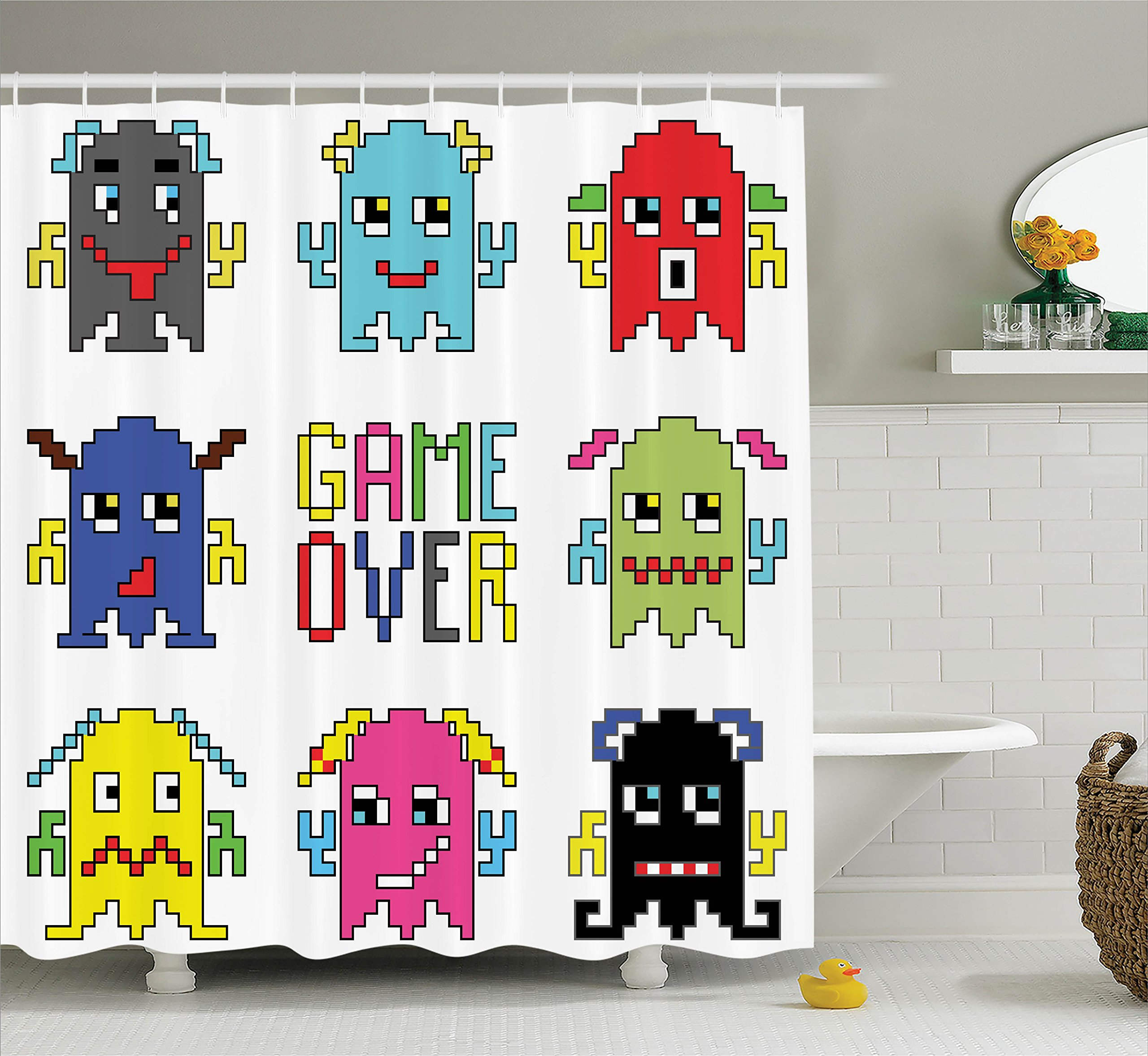 Ambesonne 90S Decorations Shower Curtain Set, Pixel Robot Emoticons with Game Over Sign Inspired by 90'S Computer Games Fun Artprint, Bathroom Accessories, 69W X 70L inches, Yellow Red