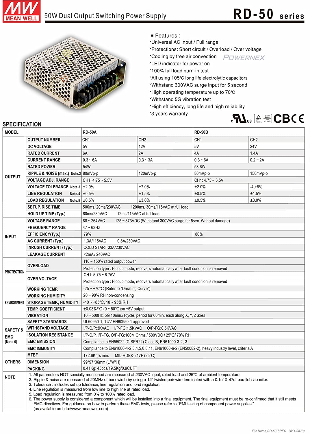 Mean Well Power Supply CH:1 5Volts CH:2 12 volts 54 watts | Universal AC input // Full range Dual Output Switching Power Supply RD-50 Series