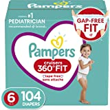 Diapers Size 6, 104 Count - Pampers Pull On Cruisers 360° Fit Disposable Baby Diapers with Stretchy Waistband, ONE Month Supp