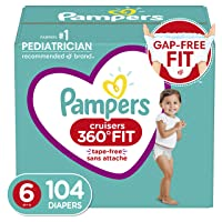 Diapers Size 6, 104 Count - Pampers Pull On Cruisers 360° Fit Disposable Baby Diapers with Stretchy Waistband, ONE Month Supply (Packaging May Vary)