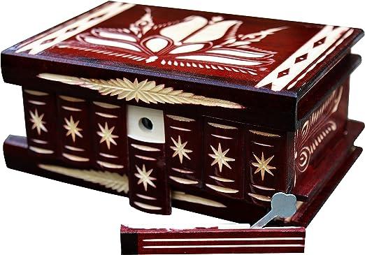 Caja de madera con cerradura para llaves, compartimentos secretos puzle joyería cajas para mujer regalos únicos, color rojo oscuro: Amazon.es: Hogar