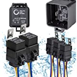 ONLINE LED STORE 5 Pack 5-Pin 12V Bosch Style Waterproof Relay Kit [Harness Socket] [12 AWG Hot Wires] [SPDT] [30/40 Amp…